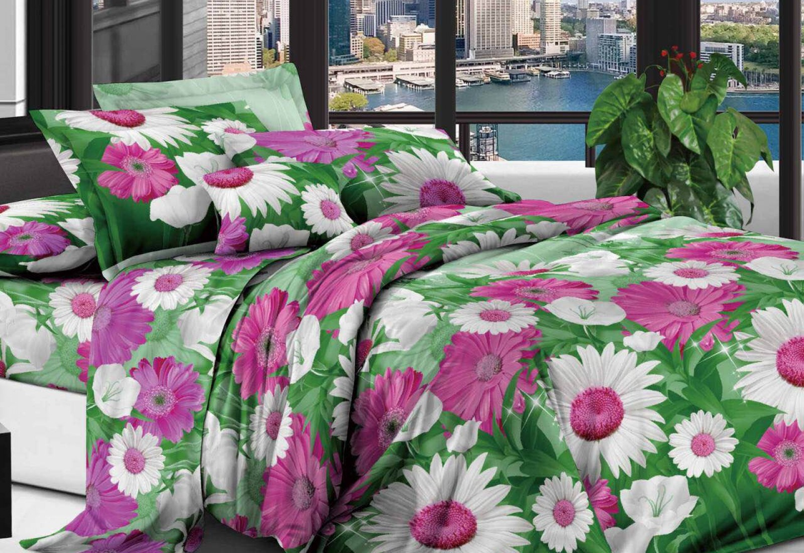 Двуспальное постельное белье полиСАТИН 3D (поликоттон) 851745