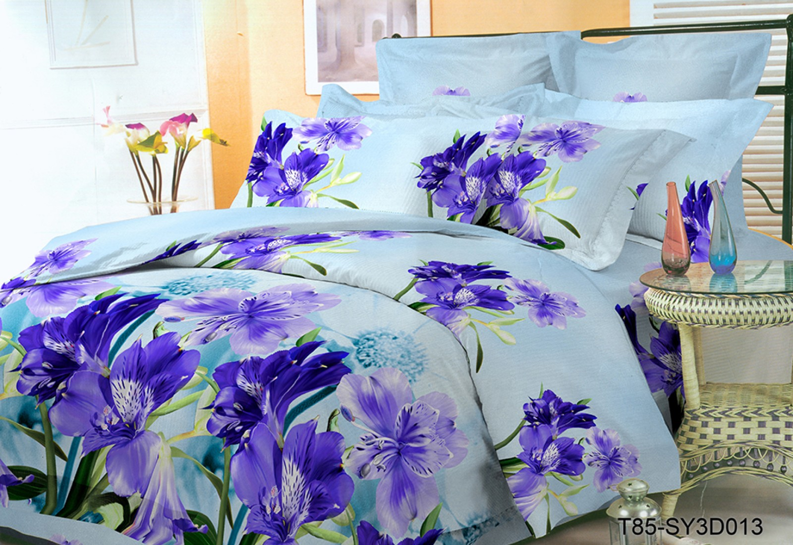 Двуспальное постельное белье полиСАТИН 3D (поликоттон) 85013