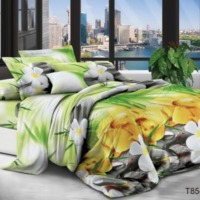Евро постельное белье полиСАТИН 3D (поликоттон) 85128
