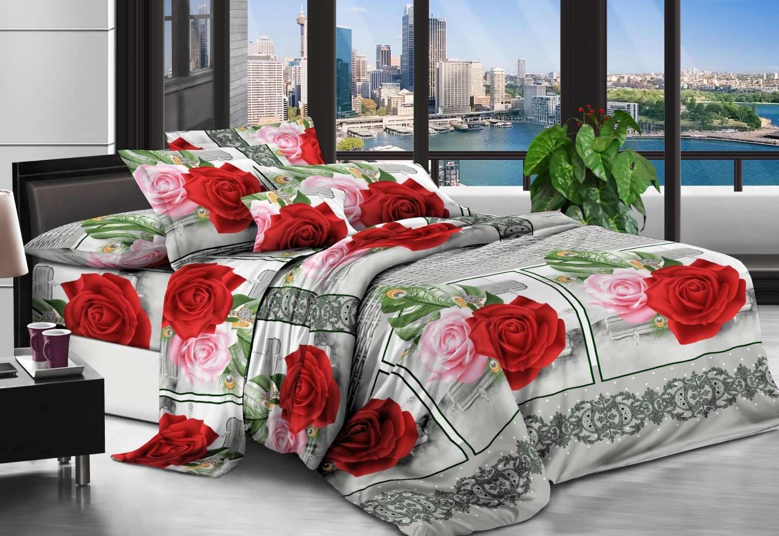 Двуспальное постельное белье полиСАТИН 3D (поликоттон)  852775