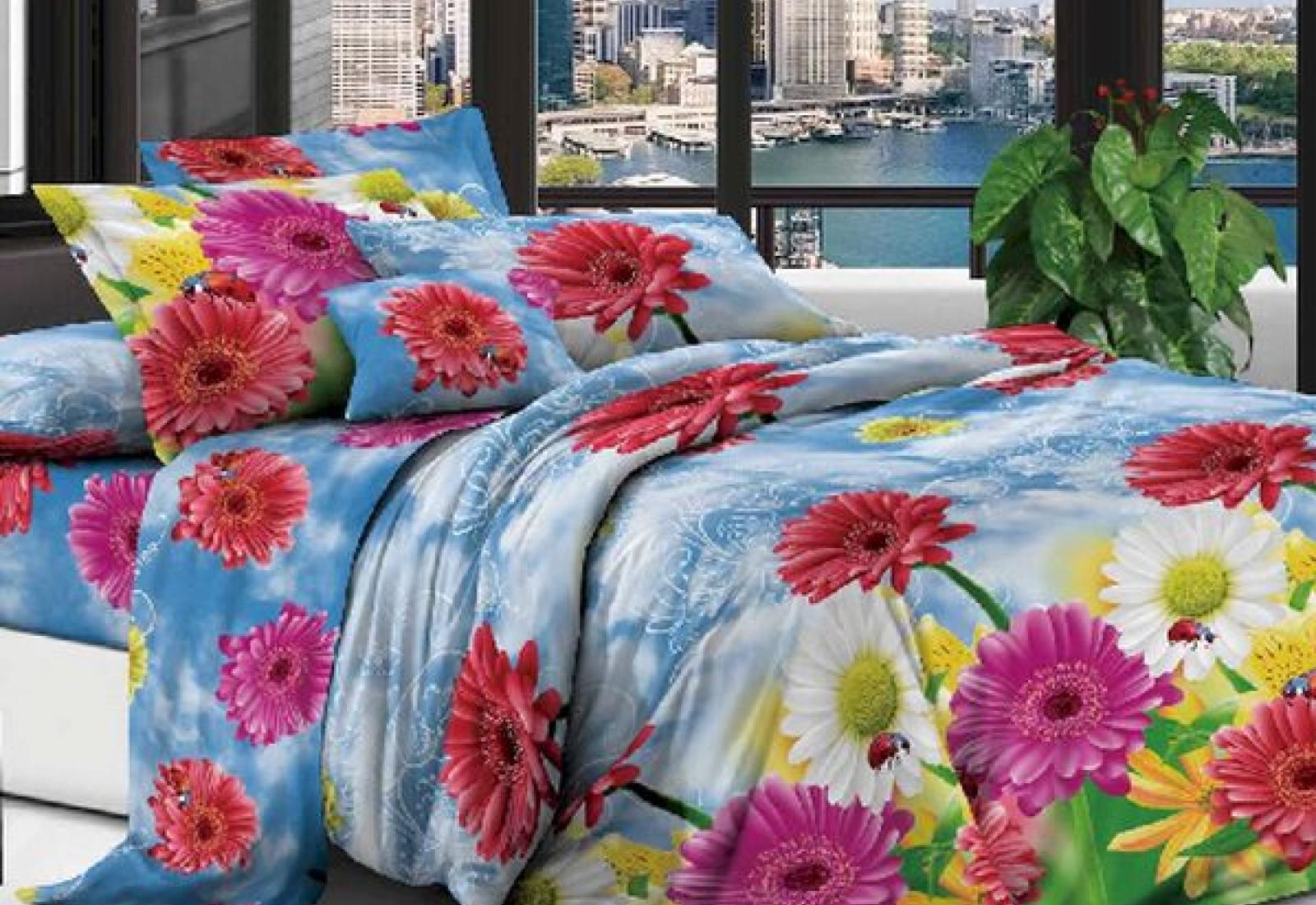 Двуспальное постельное белье полиСАТИН 3D (поликоттон) 85414