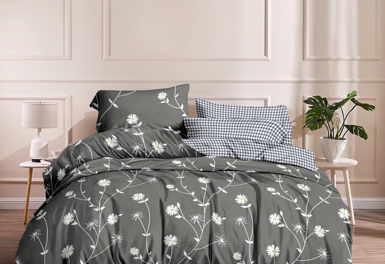 Двуспальное постельное белье  САТИН двухсторонняя, 4 наволочки / 100% хлопок  223278